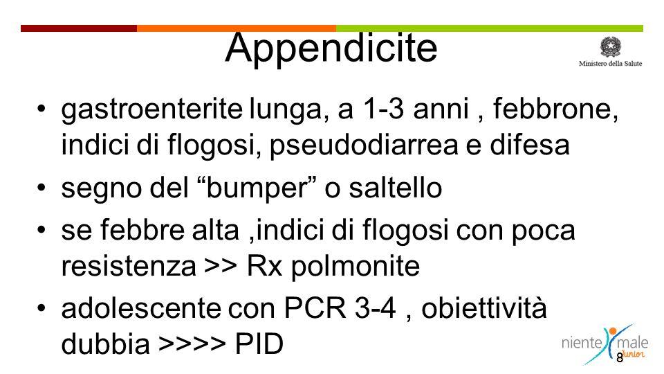 Appendicite gastroenterite lunga, a 1-3 anni , febbrone, indici di flogosi, pseudodiarrea e difesa.