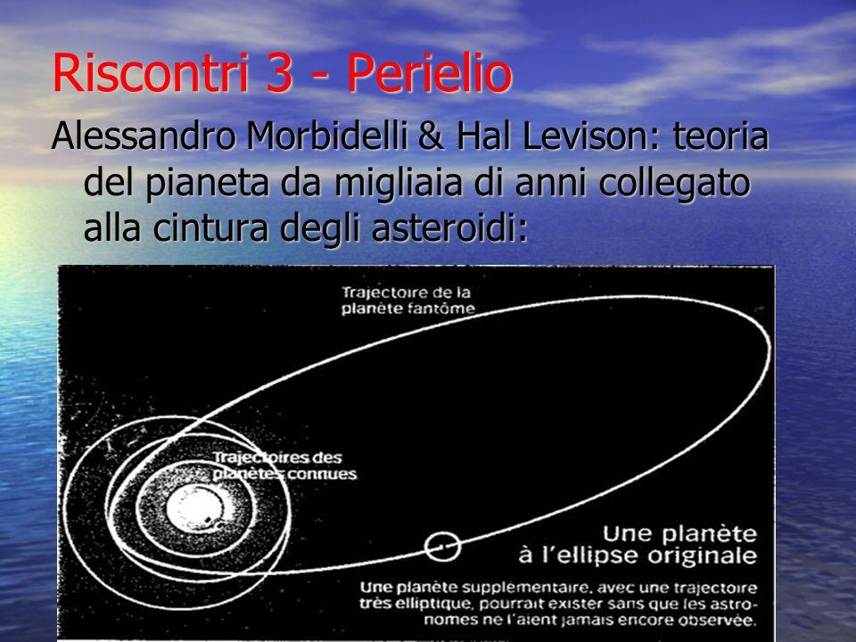 Riscontri 3 - PerielioAlessandro Morbidelli & Hal Levison: teoria del pianeta da migliaia di anni collegato alla cintura degli asteroidi: