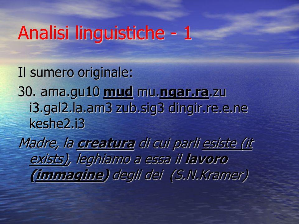 Analisi linguistiche - 1