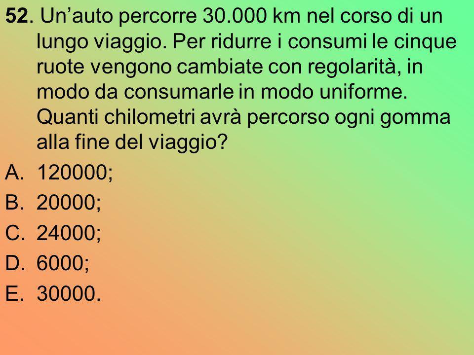 52. Un'auto percorre 30. 000 km nel corso di un lungo viaggio