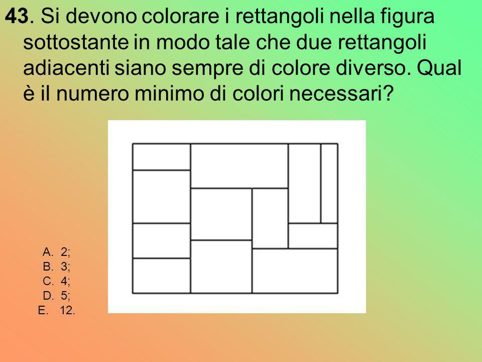 43. Si devono colorare i rettangoli nella figura sottostante in modo tale che due rettangoli adiacenti siano sempre di colore diverso. Qual è il numero minimo di colori necessari