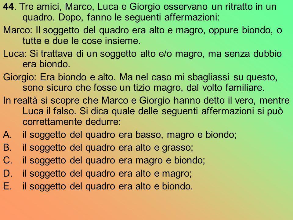 44. Tre amici, Marco, Luca e Giorgio osservano un ritratto in un quadro. Dopo, fanno le seguenti affermazioni: