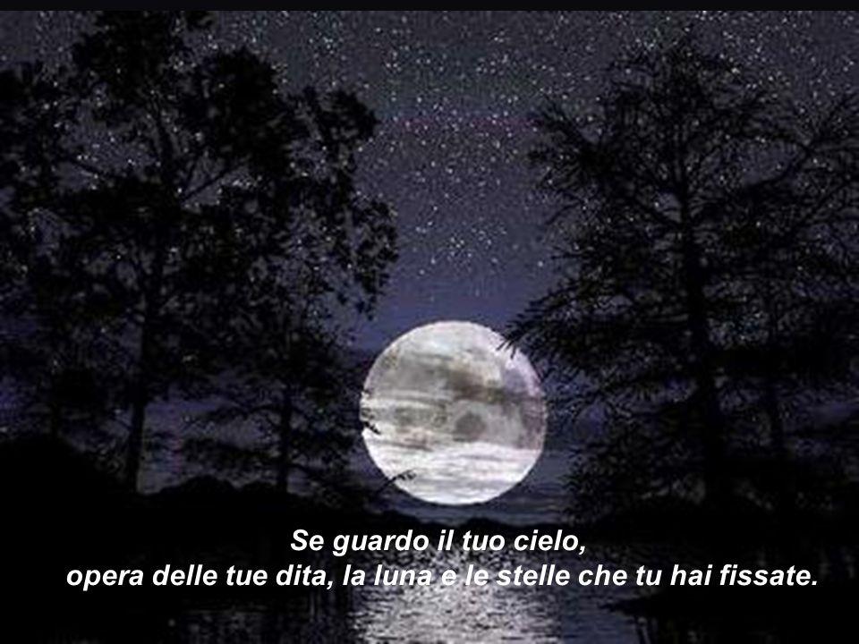 opera delle tue dita, la luna e le stelle che tu hai fissate.