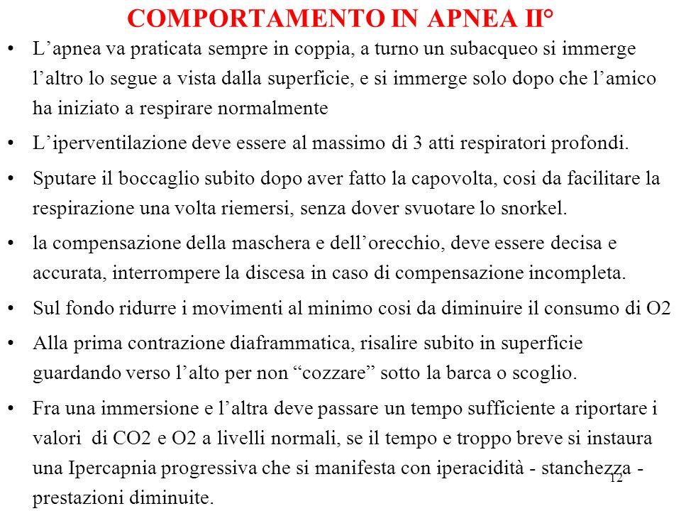 COMPORTAMENTO IN APNEA II°