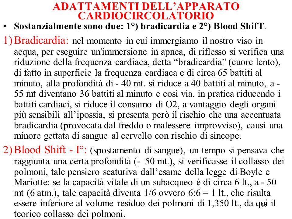 ADATTAMENTI DELL'APPARATO CARDIOCIRCOLATORIO