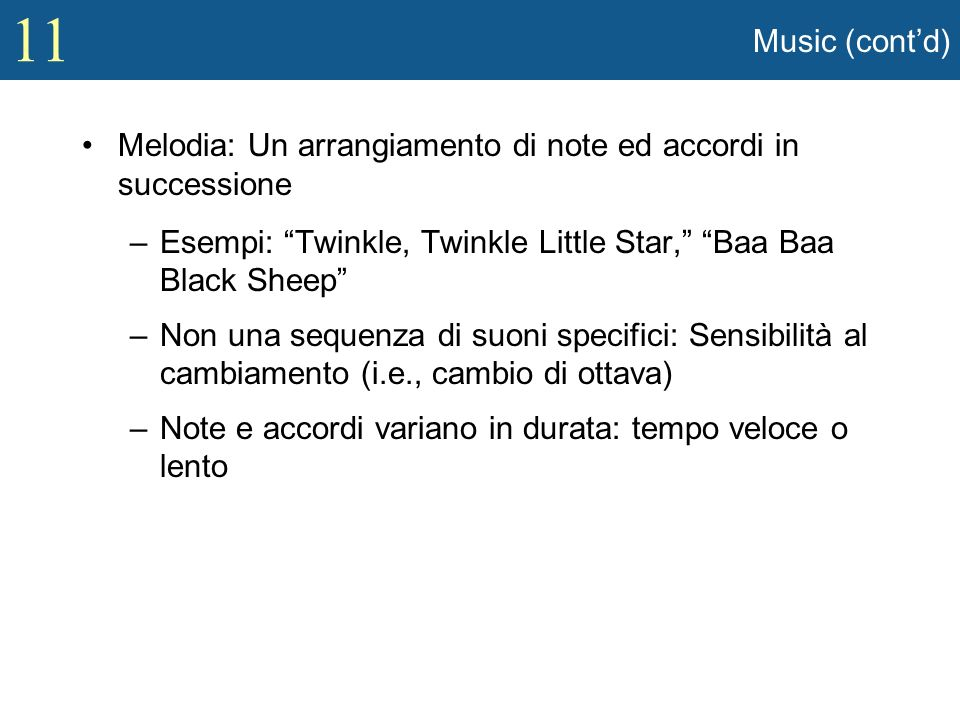 Music (cont'd) Melodia: Un arrangiamento di note ed accordi in successione. Esempi: Twinkle, Twinkle Little Star, Baa Baa Black Sheep