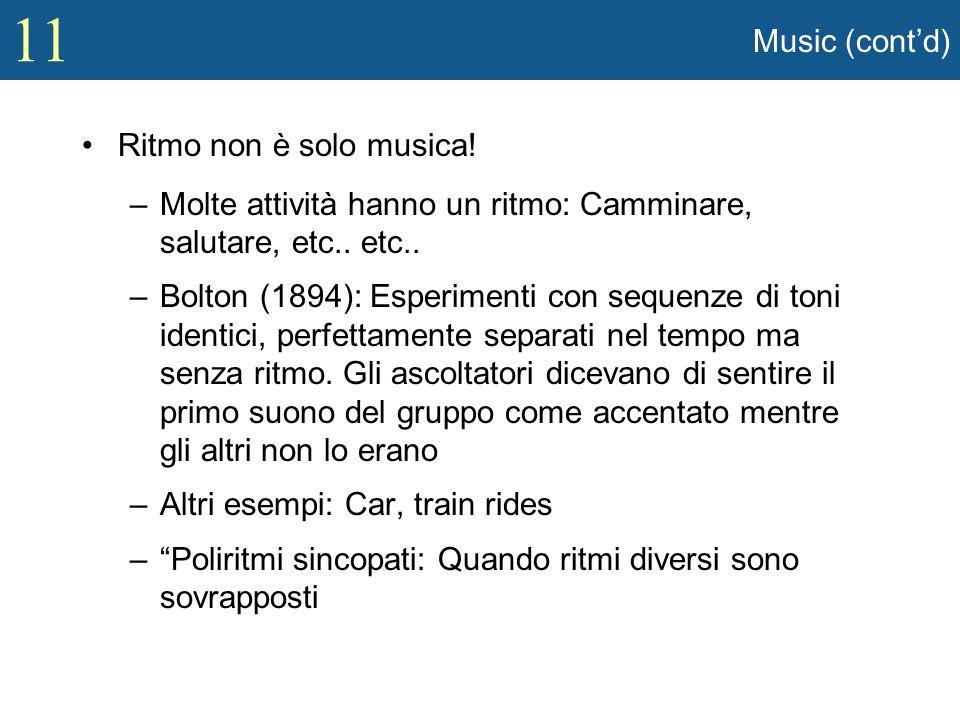Music (cont'd) Ritmo non è solo musica! Molte attività hanno un ritmo: Camminare, salutare, etc.. etc..
