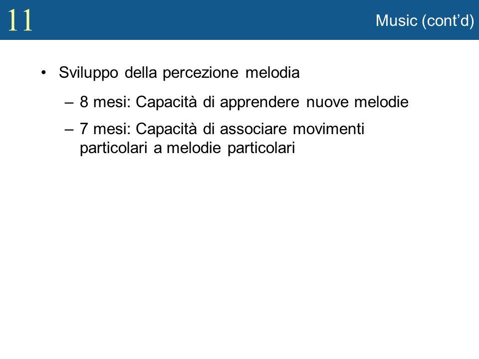 Music (cont'd) Sviluppo della percezione melodia. 8 mesi: Capacità di apprendere nuove melodie.