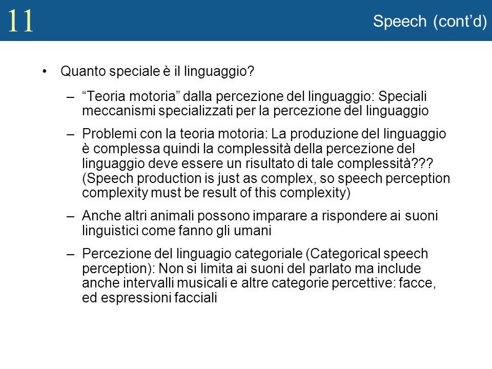 Speech (cont'd) Quanto speciale è il linguaggio