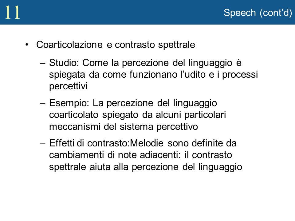 Speech (cont'd) Coarticolazione e contrasto spettrale.