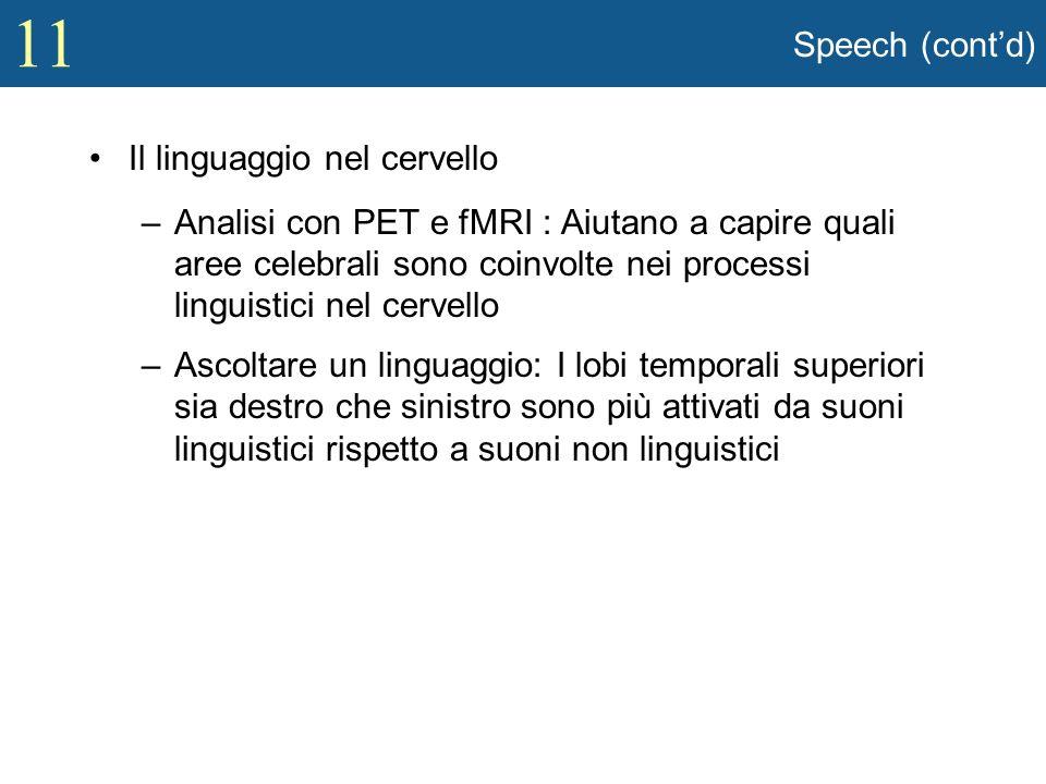 Speech (cont'd) Il linguaggio nel cervello.