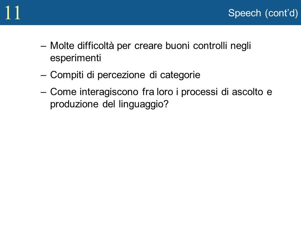 Speech (cont'd) Molte difficoltà per creare buoni controlli negli esperimenti. Compiti di percezione di categorie.