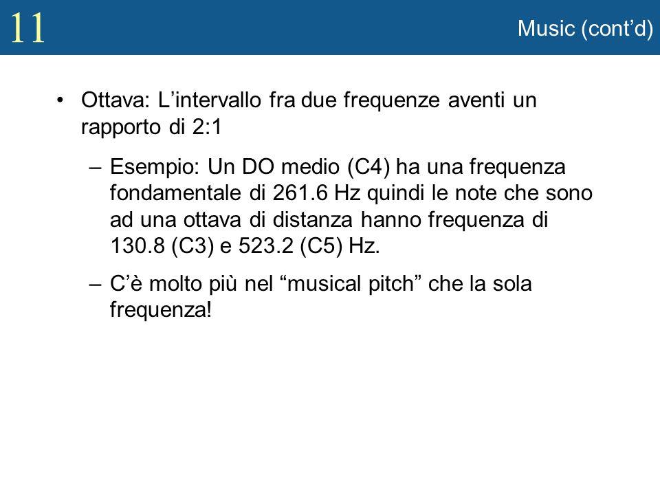 Music (cont'd) Ottava: L'intervallo fra due frequenze aventi un rapporto di 2:1.