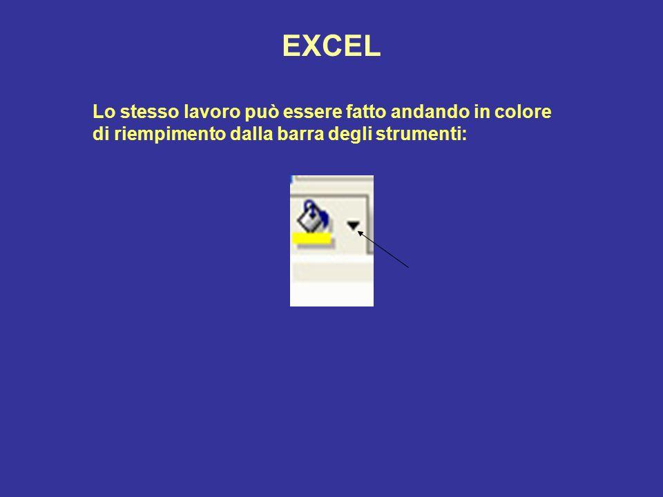 EXCEL Lo stesso lavoro può essere fatto andando in colore di riempimento dalla barra degli strumenti: