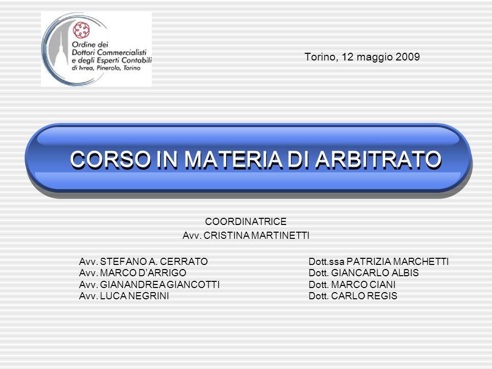 CORSO IN MATERIA DI ARBITRATO