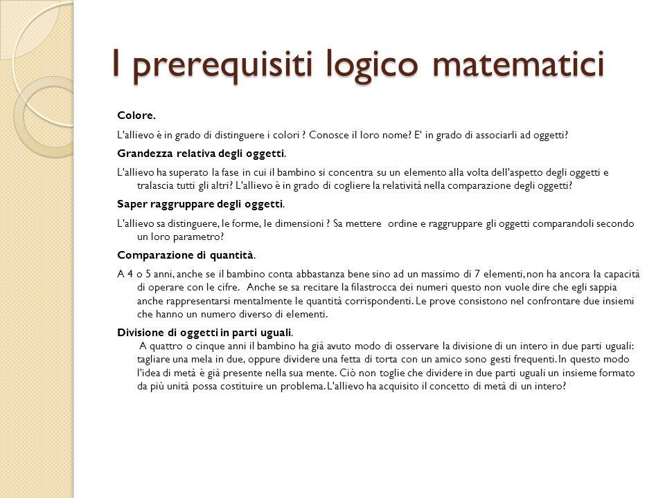 I prerequisiti logico matematici