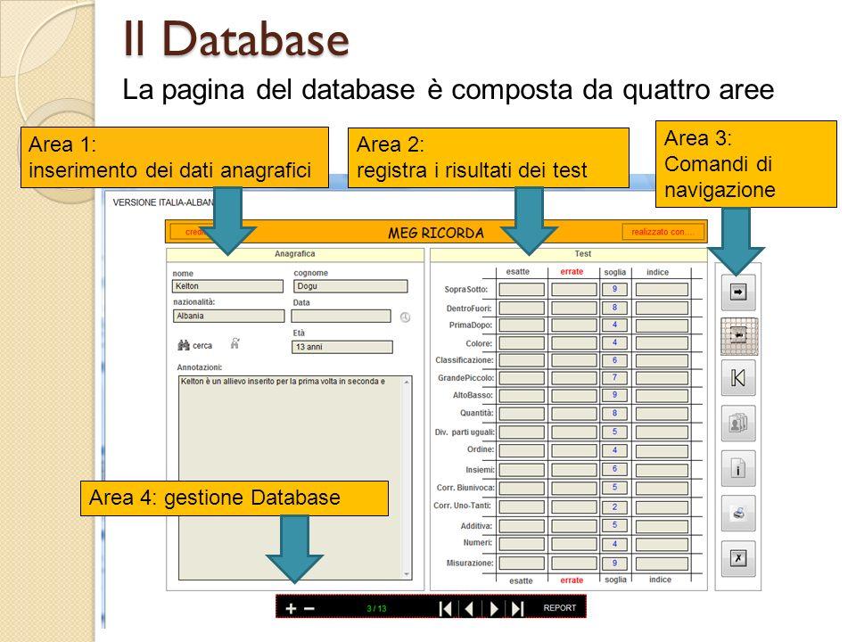 Il Database La pagina del database è composta da quattro aree Area 3: