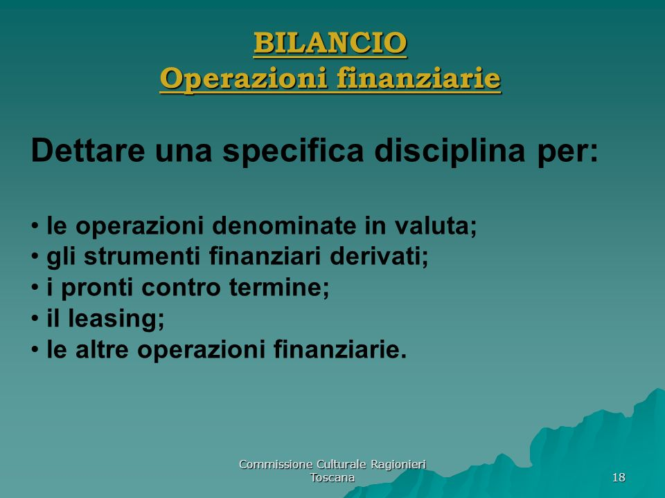 BILANCIO Operazioni finanziarie