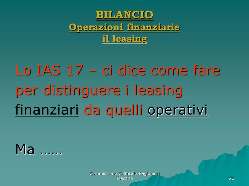 BILANCIO Operazioni finanziarie il leasing