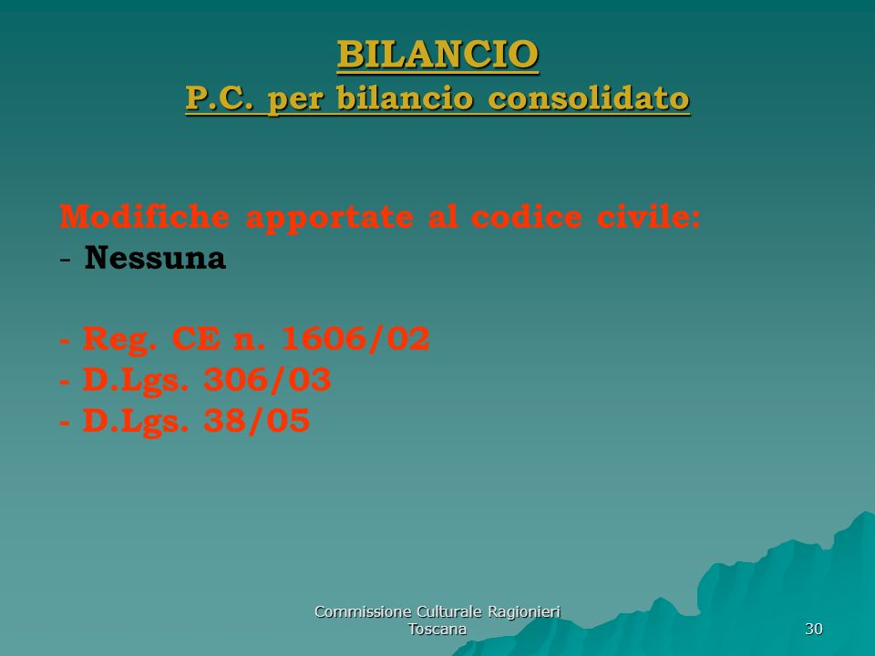 BILANCIO P.C. per bilancio consolidato