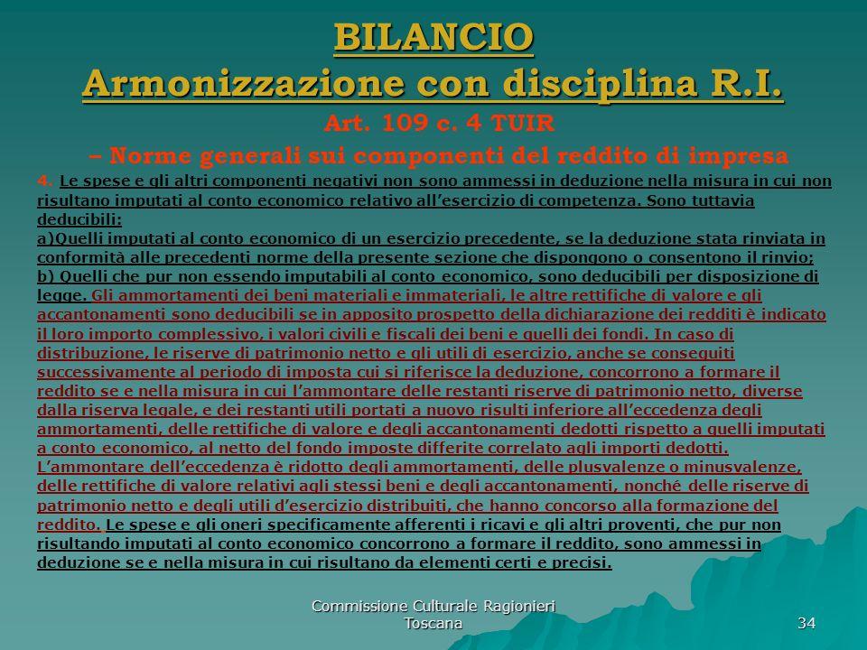 BILANCIO Armonizzazione con disciplina R.I.