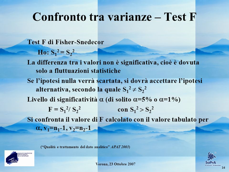 Confronto tra varianze – Test F