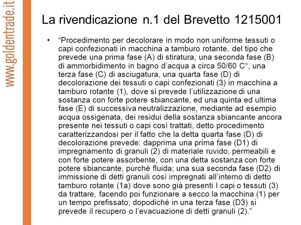 La rivendicazione n.1 del Brevetto 1215001