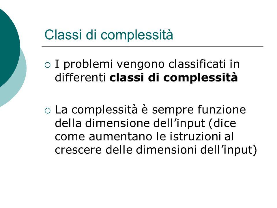 Classi di complessità I problemi vengono classificati in differenti classi di complessità.