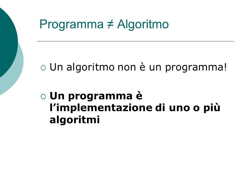 Programma ≠ Algoritmo Un algoritmo non è un programma!