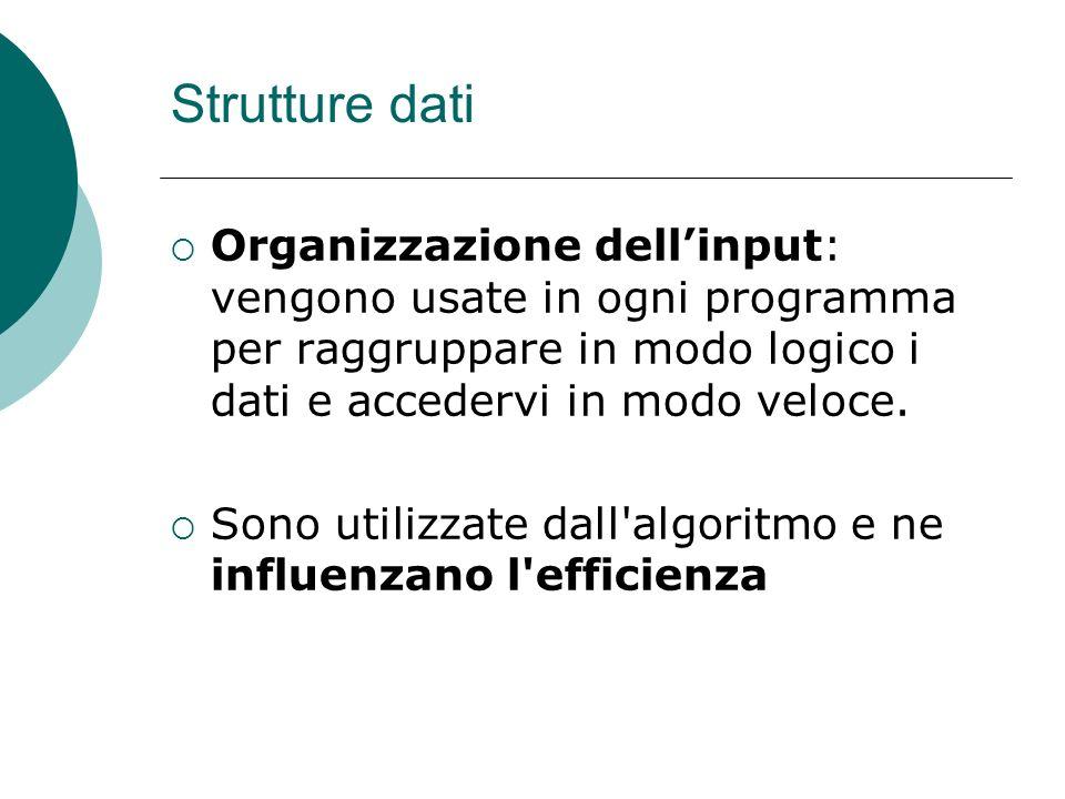 Strutture dati Organizzazione dell'input: vengono usate in ogni programma per raggruppare in modo logico i dati e accedervi in modo veloce.