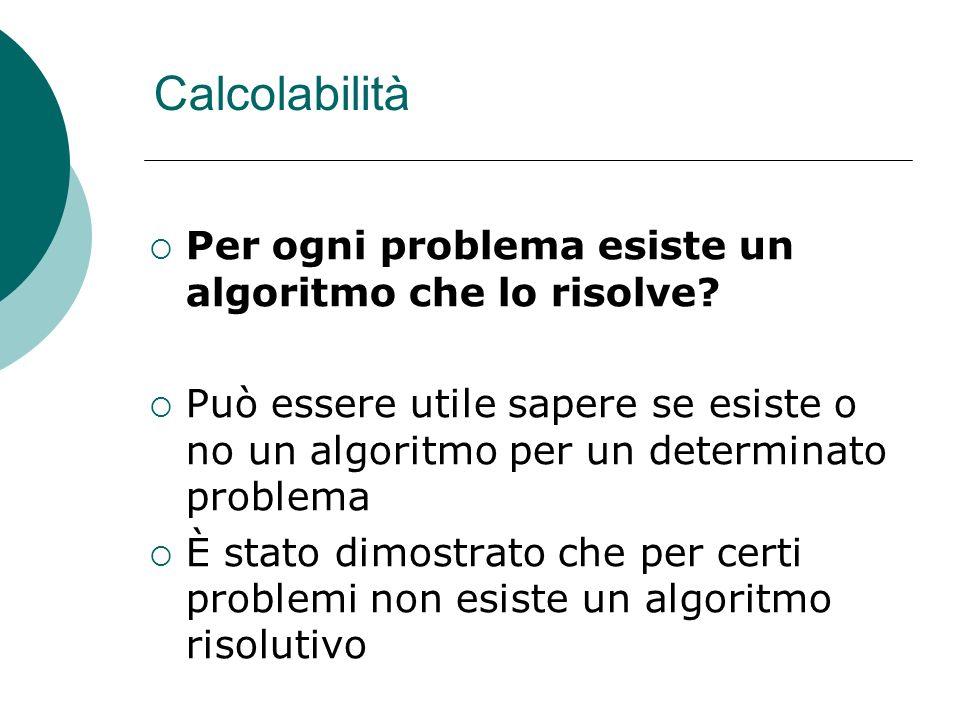 Calcolabilità Per ogni problema esiste un algoritmo che lo risolve