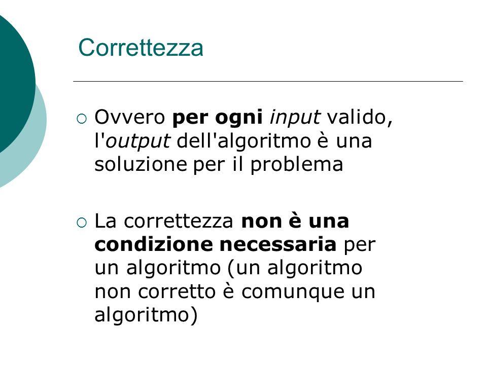 Correttezza Ovvero per ogni input valido, l output dell algoritmo è una soluzione per il problema.