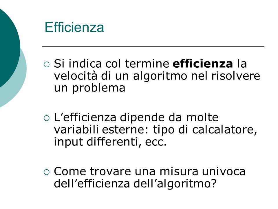 Efficienza Si indica col termine efficienza la velocità di un algoritmo nel risolvere un problema.