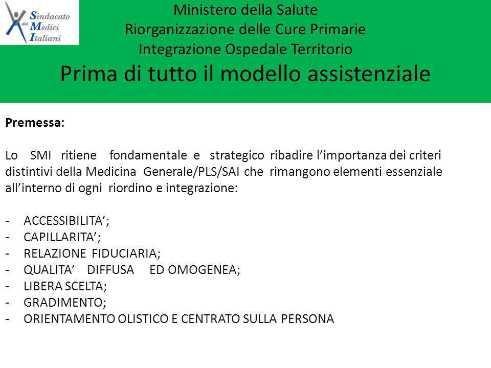 Ministero della Salute Riorganizzazione delle Cure Primarie Integrazione Ospedale Territorio Prima di tutto il modello assistenziale