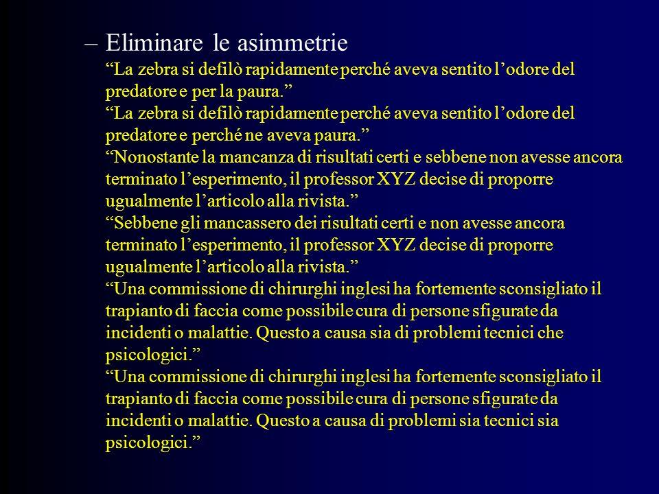 Eliminare le asimmetrie