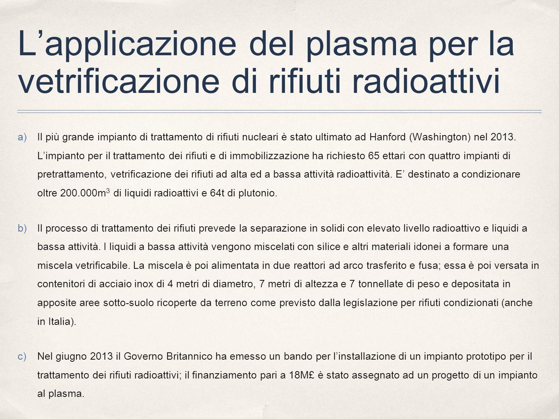 L'applicazione del plasma per la vetrificazione di rifiuti radioattivi