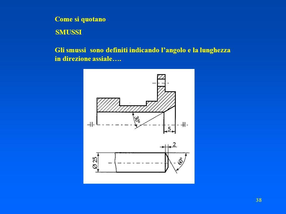 Come si quotano SMUSSI. Gli smussi sono definiti indicando l'angolo e la lunghezza.