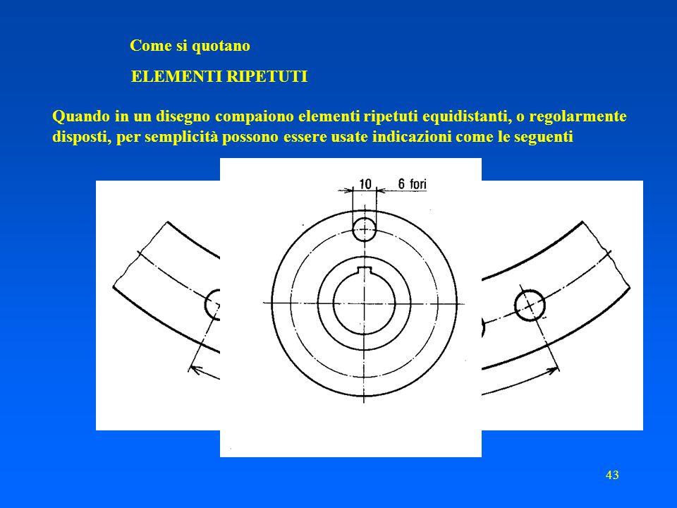 Come si quotano ELEMENTI RIPETUTI. Quando in un disegno compaiono elementi ripetuti equidistanti, o regolarmente.