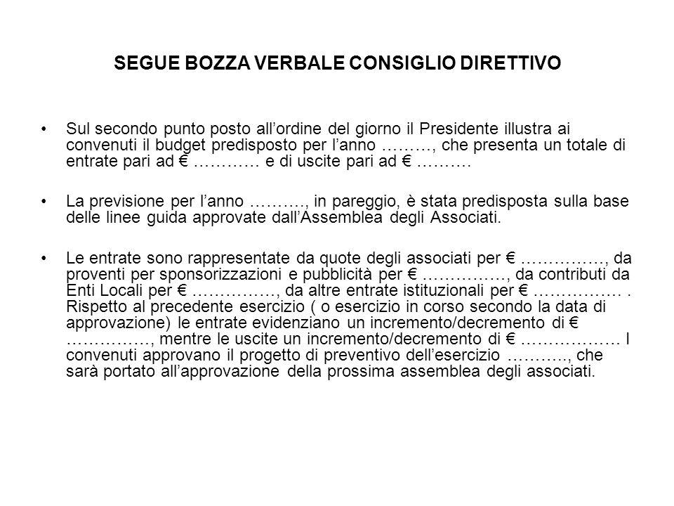 SEGUE BOZZA VERBALE CONSIGLIO DIRETTIVO