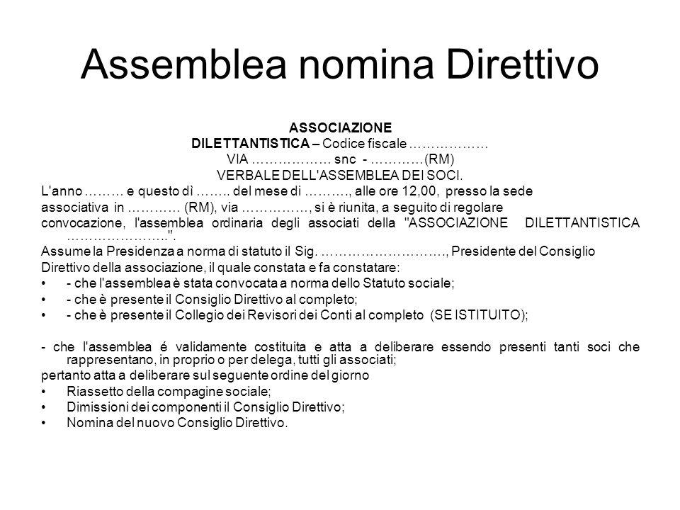 Assemblea nomina Direttivo