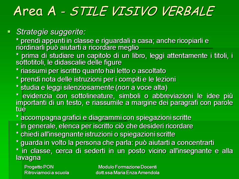 Area A - STILE VISIVO VERBALE