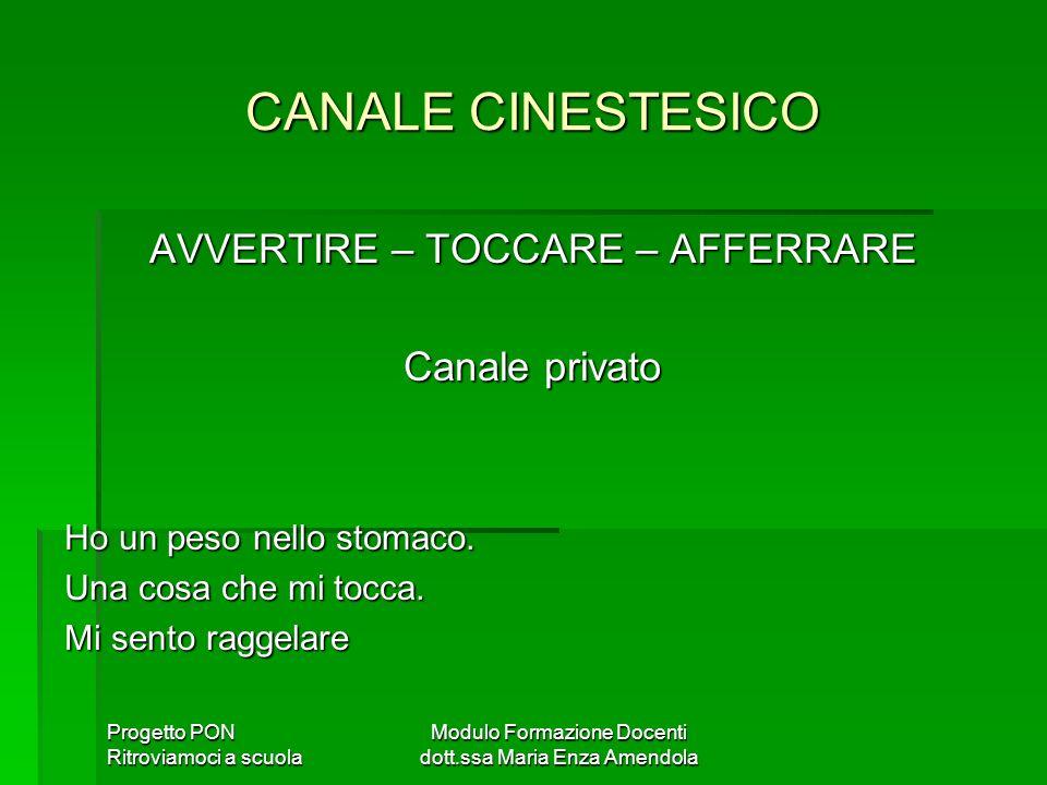CANALE CINESTESICO AVVERTIRE – TOCCARE – AFFERRARE Canale privato