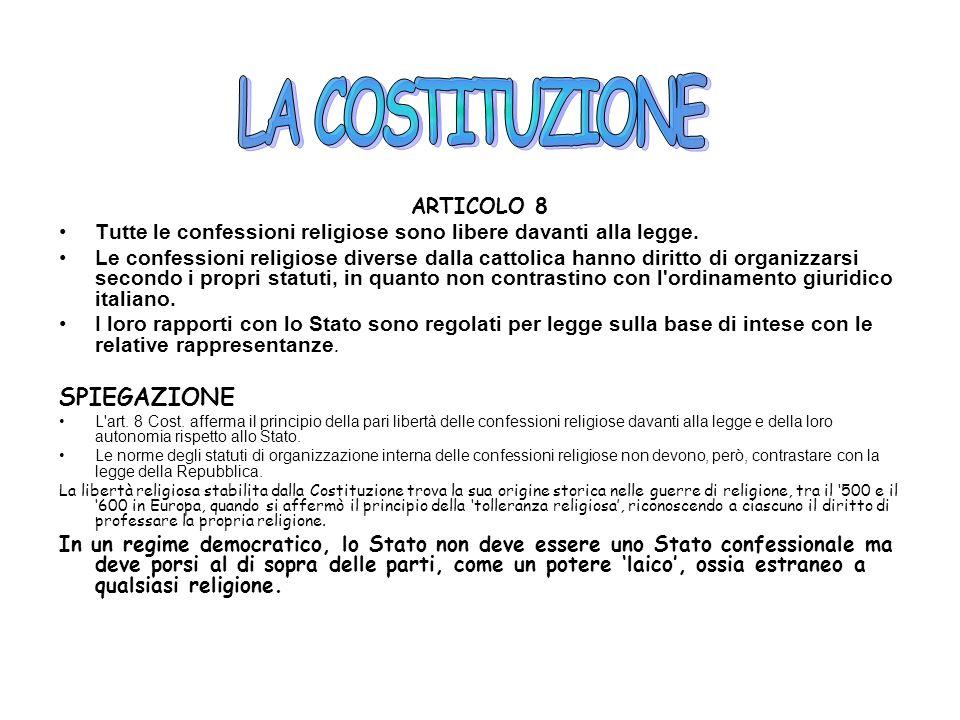 LA COSTITUZIONE SPIEGAZIONE ARTICOLO 8