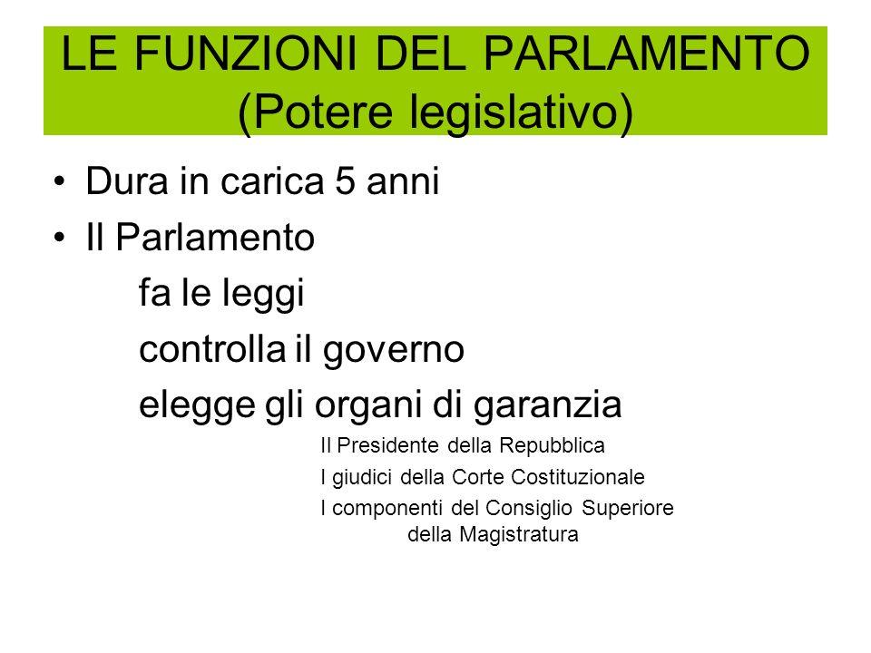 LE FUNZIONI DEL PARLAMENTO (Potere legislativo)