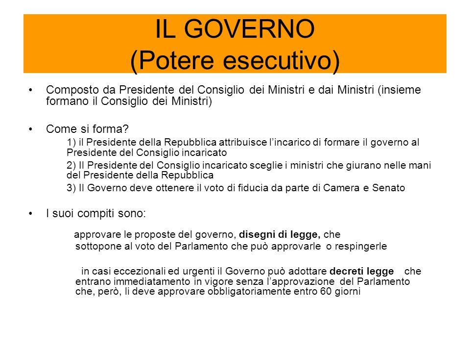 IL GOVERNO (Potere esecutivo)