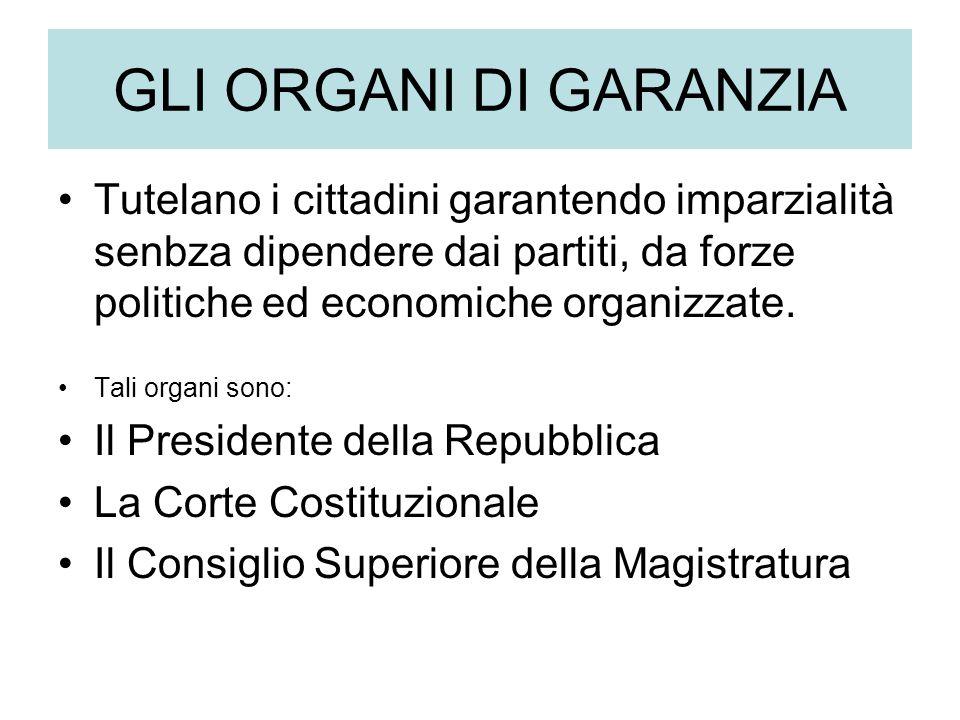 GLI ORGANI DI GARANZIA Tutelano i cittadini garantendo imparzialità senbza dipendere dai partiti, da forze politiche ed economiche organizzate.