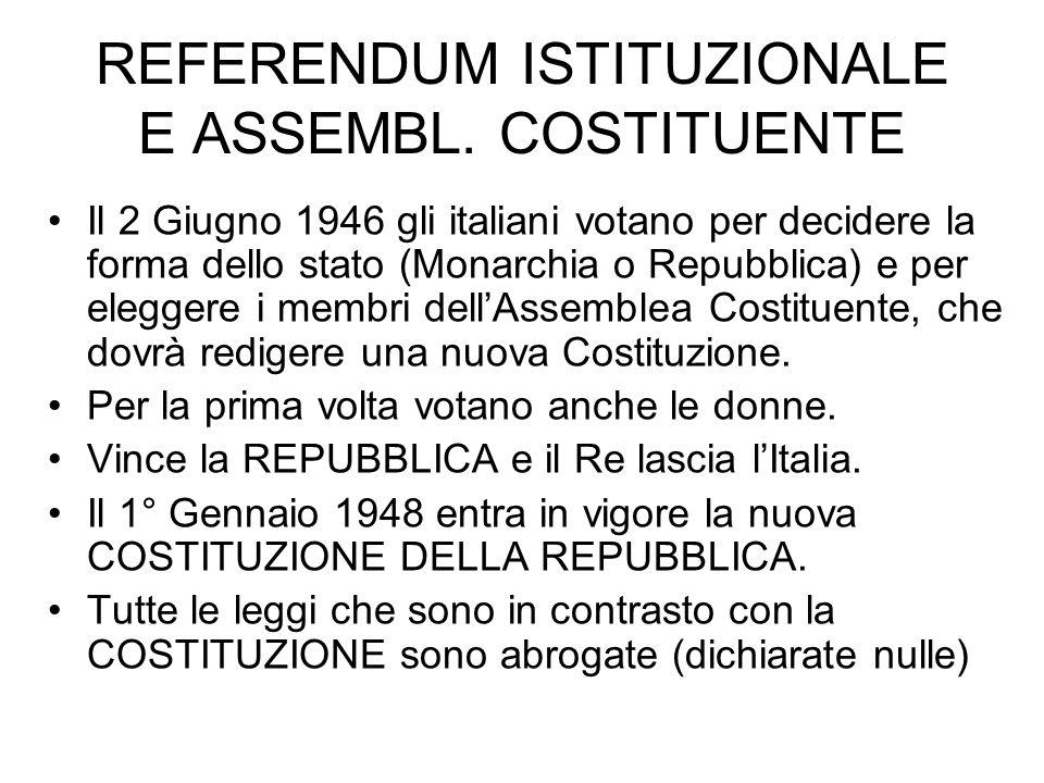 REFERENDUM ISTITUZIONALE E ASSEMBL. COSTITUENTE
