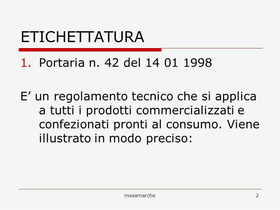 ETICHETTATURA Portaria n. 42 del 14 01 1998
