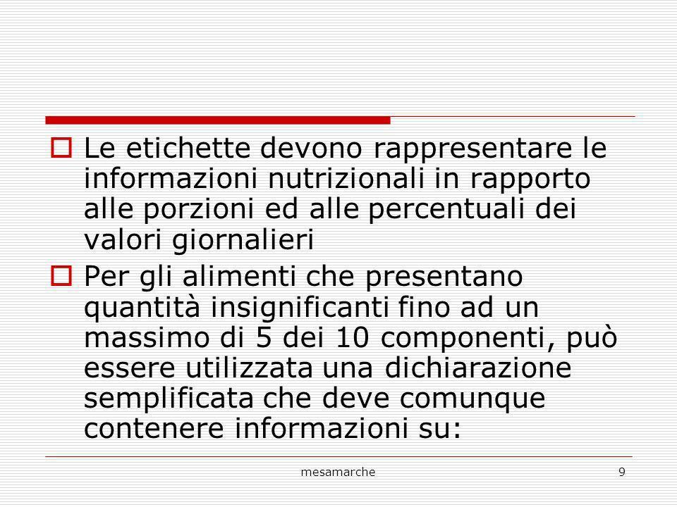 Le etichette devono rappresentare le informazioni nutrizionali in rapporto alle porzioni ed alle percentuali dei valori giornalieri