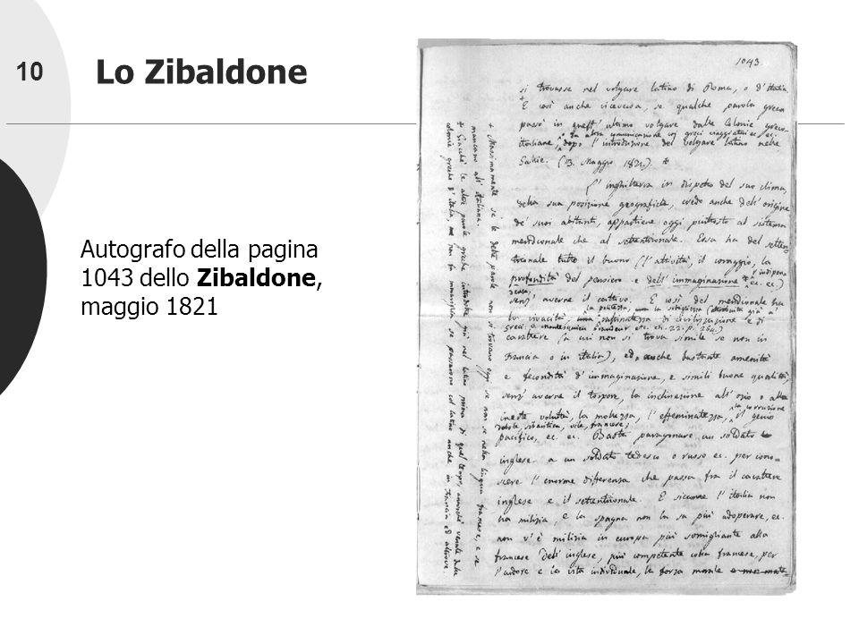 Lo Zibaldone Autografo della pagina 1043 dello Zibaldone, maggio 1821